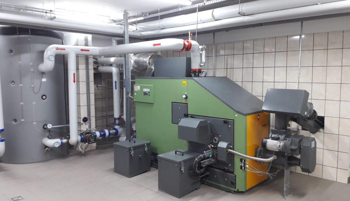 Kotłownia na pellet HDG Compact 200 kW w Zespole Szkolno-Przedszkolnym w Olszance